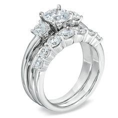 2-1/2 CT. T.W. Diamond Three Stone Criss-Cross Bridal Set in 14K White Gold - Zales