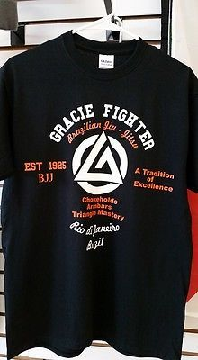 Gracie Fighter BJJ Brazilian Jiu Jitsu T-shirt Tee MMA Mixed Martial arts