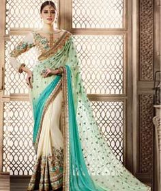 Buy Sea Green Georgette Party Wear Saree 72830 with blouse online at lowest price from vast collection of sarees at Indianclothstore.com.
