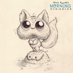 Artwork of Chris Ryniak Cute Monsters Drawings, Cartoon Monsters, Cute Animal Drawings, Little Monsters, Cartoon Drawings, Cute Drawings, Doodle Monster, Monster Sketch, Monster Drawing