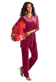 Roamans Women's Plus Size V-Neck Velour Jogging Suit - List price: $50.25 Price: $35.25 Saving: $15.00 (30%)