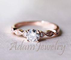 Fancy VS Brilliant Moissanite Ring 14K Rose Gold  Accent Diamonds Engagement Ring /Wedding Ring/ Promise Ring