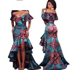 afrikanische kleider African Style Long Dress For Women Cotton Print Kitenge Ankara Sexy Slash Neck - African Fashion Dresses Source by ishidi African Fashion Designers, African Print Fashion, Africa Fashion, African Attire, African Wear, African Dress, African Style, African Beauty, African Prom Dresses