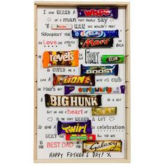 Treat your Dad to an unusual gift this Father's Day with our Father's Day Chocolate Poem. The gift consists of 14 individual wrapped chocolate bars and sweets arranged in poem form #fathersday #chocolate #poem