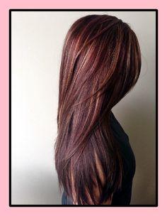 Rot mit Highlights Haarfarbe Ideen im Jahr 2018