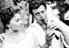 "Sophia Loren and Marcello Mastroianni on the set of ""La bella mugnaia"", 1955."