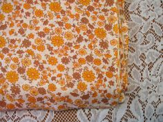 Orange, Yellow Olive Green Flowers, Cotton  Fabric- Sewing craft supplies, Sewing Notion, Quilting Supplies by NormaSuppliesandKits on Etsy