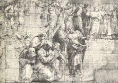 Detail from the cartoon for the 'School of Athens', 1510-11 (pencil & chalk on paper), Raphael (Raffaello Sanzio of Urbino)