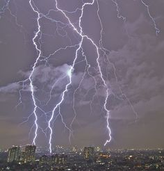 Lightening strikes in Jakarta