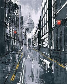 St Paul's Street - a framed and signed, limited edition giclee on aluminium by popular cityscape artist Paul Kenton.
