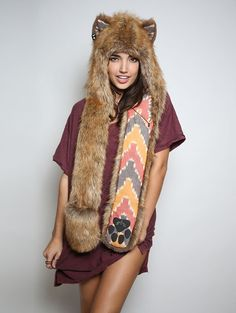 Coyote Sedona faux fur animal inspired hood (100% Vegan). Unisex (one size fits most).