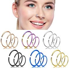 Collection Here 2x 20g 18g 16g 14g Surgical Steel Seamless Hoop Nose Ring Earring Tragus Septum Wide Varieties Fashion Jewelry Jewelry & Watches