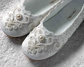 Wedding Shoes - Ballet Flats, Vintage Lace, Swarovski Crystals, Women's Bridal Shoes.  via Etsy.