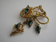 Vintage Watch Fob Brooch Pendant Emerald by ToadSuckTreasures, $24.00