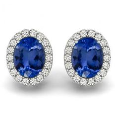 1.36ctw Oval Tanzanite Earring With .28ctw Diamonds in 14K White Gold