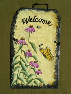 Hand painted slate Welcome sign by LisaBaneArt on Etsy
