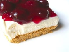 NO BAKE CHERRY CHEESECAKE 1 graham cracker crust 1 (8 oz.) pkg. cream cheese, softened 1/3 c. sugar 1 c. light sour cream 2 tsp. vanilla 1 (8 oz.) container frozen whipped topping, thawed 1 can pie filling, cherry or blueberry Beat cheese until smooth; gradually beat in sugar. Blend in sour cream and vanilla. Fold in whipped topping, blending well. Spoon into crust. Chill until set - at least 4 hours. Top with pie filling. Chill.