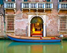 Venice canal photograph - Venetian photo evening blue gondola shabby vintage house building door- A Boat by the Door - ven0024
