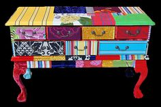 Patchwork dresser- think I'll try this with wall paper samples .......?