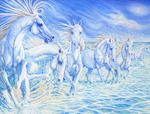 """Art Titled, """"Creation of Horse - a large equine landscape in blue"""". 51"""" x 42"""" Painting by Artist, Gill Bustamante - Paintings for Sale in Sussex"""