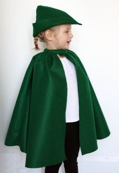 Fairy Tale Cape Dress up Kelly Green Felt  - Robin Hood Prince Charming. $17.00, via Etsy.