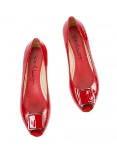 FRANCA Red patent leather peep-toe low wedge heel buckle pumps