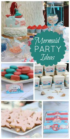A mermaid girl birthday party in aqua, white and coral tones with a bubble blowing machine!  See more party planning ideas at CatchMyParty.com!