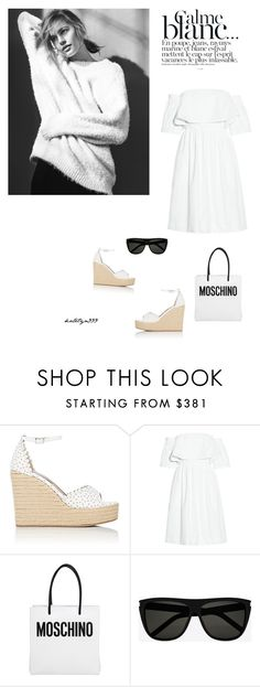 """""""Calme blanc...."""" by katelyn999 ❤ liked on Polyvore featuring Tabitha Simmons, Paper London, Bensimon, Moschino, Yves Saint Laurent, WhiteOnWhite, whitedress and polyvoreeditorial"""