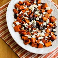 Roasted Sweet Potatoes and Red Onions with Feta (Easy--sweet potatoes, onion, feta, olive oil, and seasoning)