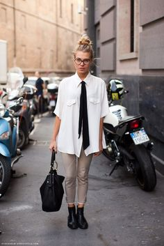 topknot/glasses/tie/gussets/oversize