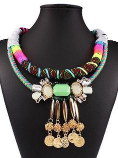 Multicolor Coin Drop Rhinestone Weave String Collar Necklace