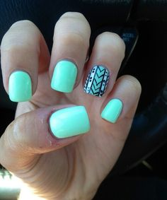 Mint Nails dont think these are for me but theyd be cute for you! Mint Nails dont think these are for me but theyd be cute for you! Cute Gel Nails, Love Nails, Pretty Nails, Accent Nails, Nail Art Motif, Mint Nails, Aztec Nails, Black Nails, Chevron Nails