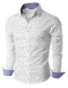Doublju Men's Long Sleeve Dot Print Shirts (KMTSTL0181) Doublju
