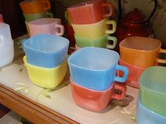 vintage coloured glass cups