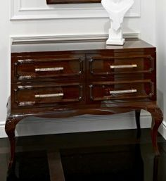 High end modern glamour wenge chest of drawers