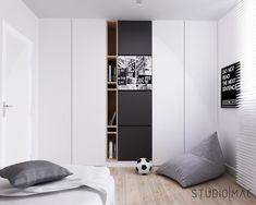 Projekt mieszkania 55 m2 Luxury Bedroom Furniture, Wardrobe Furniture, Furniture Design, Room Hammock, Interior Design Gallery, Student Room, Teenage Room, Single Bedroom, Kids Room Design