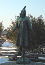 One of the many interpretations of how Pocahontas looked, her statue at Historic Jamestowne.