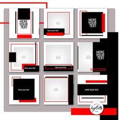 set of templates RED-Black. Social Media Templates The set of templates RED-Black. Instagram Feed Layout, Instagram Frame, Instagram Post Template, Instagram Design, Free Instagram, Instagram Posts, Web Design, Poster Design Layout, Graphic Design Posters