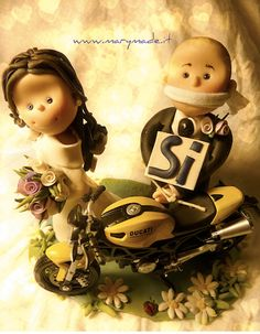 A Wedding Cake Topper with a Ducati Bike - He had to say YES!