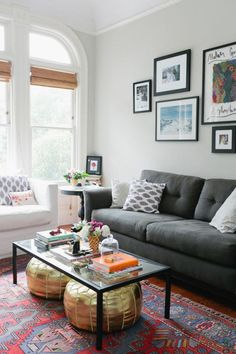 Eclectic living room, ottomans under coffee table