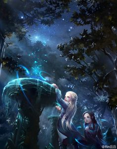 Legolas and Arwen by Rin丘丘 << YES. This is so cute! And the stars in the background are gorgeous.