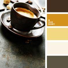 amarillo azafranado, amarillo oscuro, amarillo vivo, blanco sucio, chocolate, color amarillo canario, color café, color piedra, combinación contrastante de colores, combinación de colores, gris oscuro, marrón, marrón grisáceo, negro, selección del color para un salón, tonos cálidos.