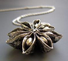 Amazing sterling pendant cast from a natural star anise pod. This was also found on Etsy and is by iacua. Silver Casting, Metal Clay Jewelry, Contemporary Jewellery, Modern Jewelry, Jewelry Art, Pendant Jewelry, Jewelry Design, Jewelry Necklaces, Brass Pendant