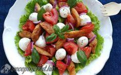 Csirkés-mozzarellás-paradicsomos saláta recept fotóval Caprese Salad, Mozzarella, Food, Essen, Meals, Yemek, Insalata Caprese, Eten