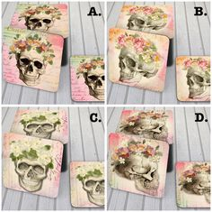 Sugar Skull Rose Coasters.  Set of 4 with decorative Mogogany Stain Wood Display Stand, CHOOSE FROM 4 DESIGNS!