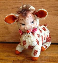 Vintage Rushton Daisy Mazie rubber face plush stuffed cow #Rushton