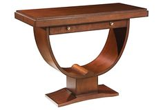 "Dupont Dining Table on OneKingsLane.com, 999, The curvaceous base imparts instant drama to this Mid-Century Modern console, while the lustrous port finish accentuates the rich grain of the maple. The drawer, adorned with solid brass hardware, enables you to stash odds and ends out of sight. Made of:frame, maple solids and veneers; hardware, brass, Size:45""W x 20""D x 34""H, Color: madeira"