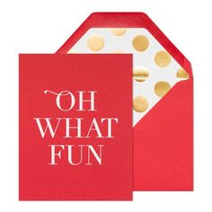 Paper Color red Ink Color white foil Envelope Color red Envelope Liner gold foil polka dot Printing Type letterpress Dimensions 4.25 x 5.5 inches Quantity 6 cards + 6 envelopes Our Oh What Fun note se