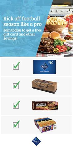 Join today and get a $10 Sam's Club eGift card and touchdown savings on burgers, chips, cookies and more tailgating must-haves. Offers are automatically loaded on your card so you can save instantly. Valid 8.21-9.11