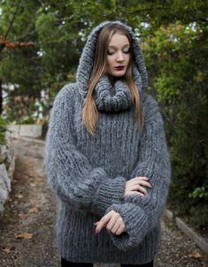 Dark Gray  Longhair mohair sweater L  XL  T-neck removable by LanaKnittings #Handmade #TurtleneckMock